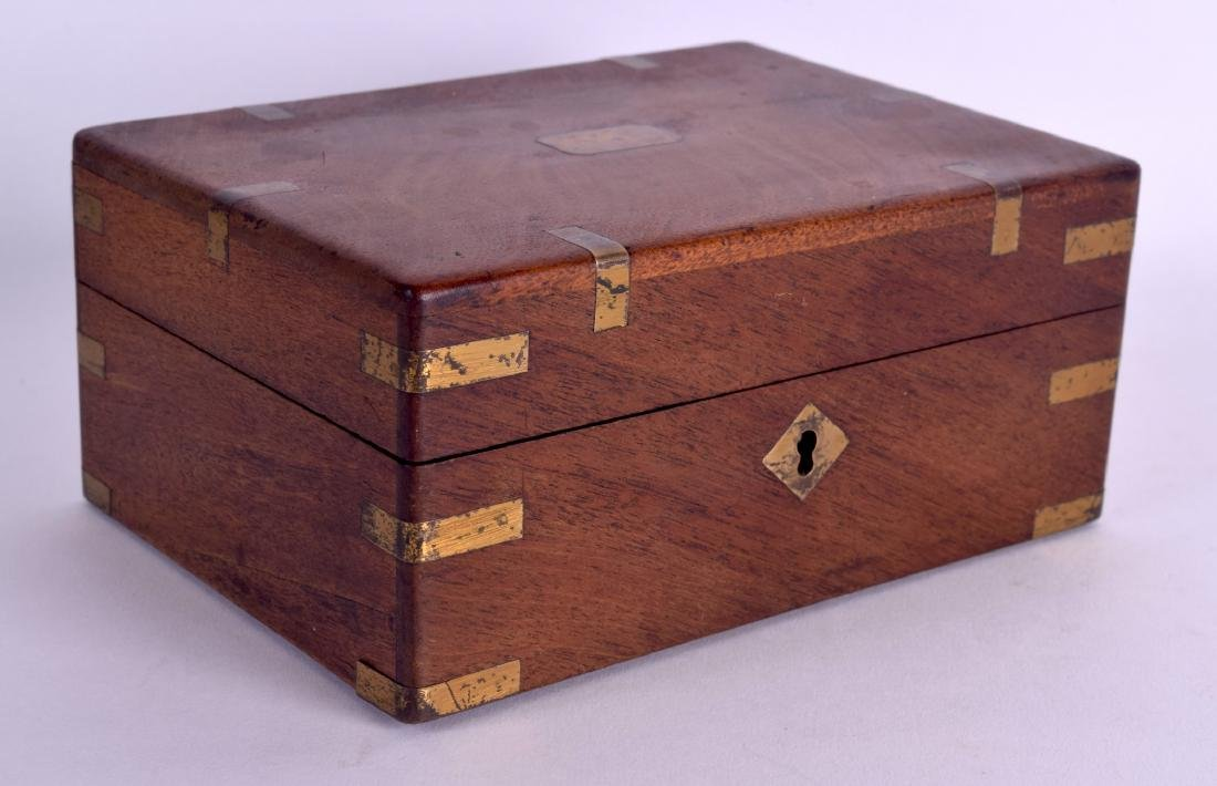 A MID 19TH CENTURY MAHOGANY BRASS BOUND PISTOL BOX with