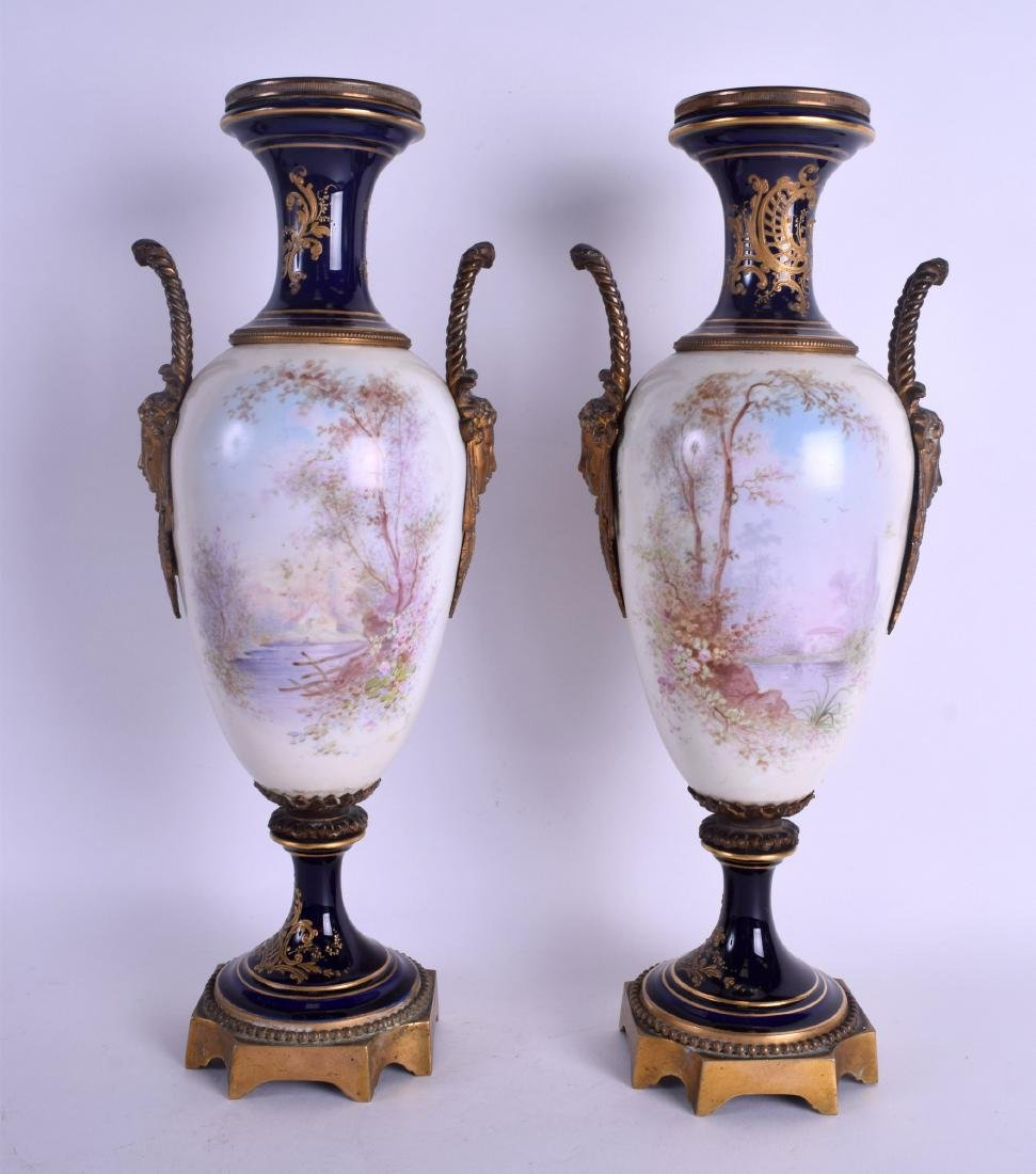 A LARGE PAIR OF 19TH CENTURY FRENCH SEVRES PORCELAIN - 2