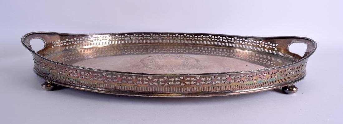 A LARGE GEORGE V SILVER TWIN HANDLED SERVING TRAY. - 2