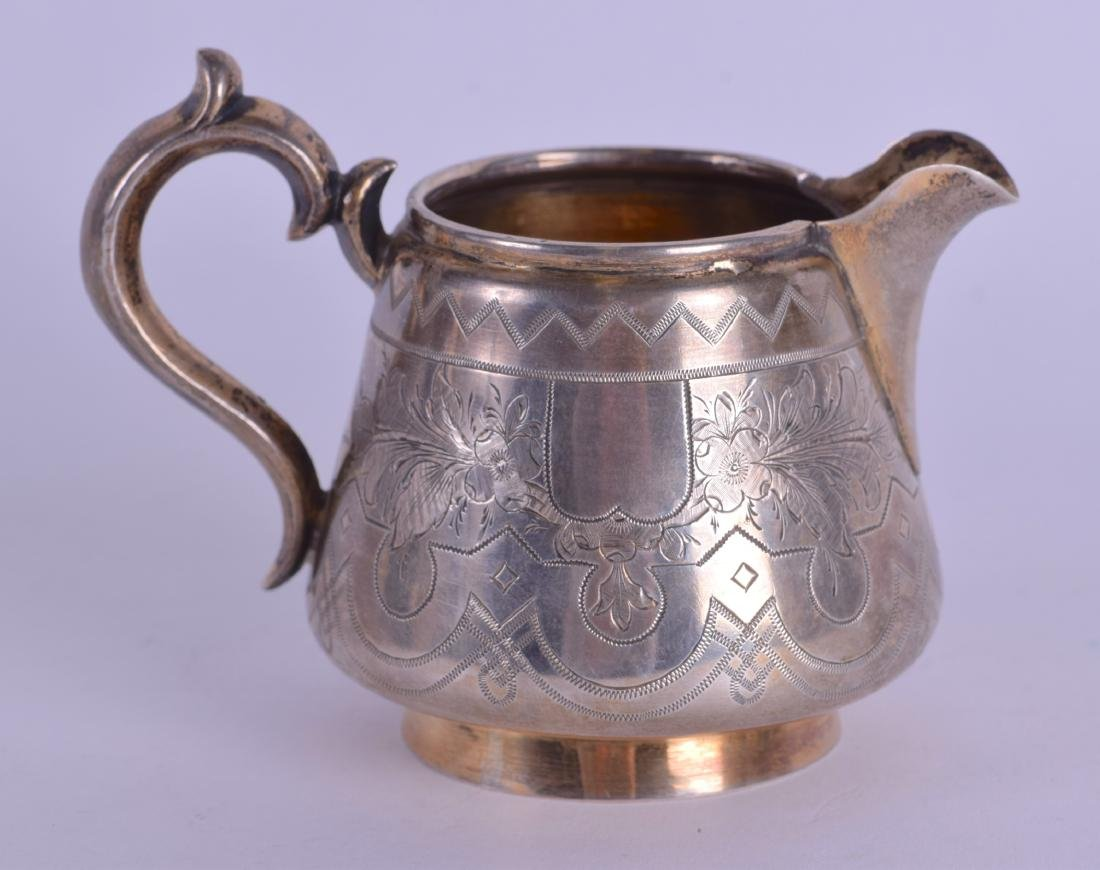 A 19TH CENTURY RUSSIAN ENGRAVED SILVER CREAM JUG - 2