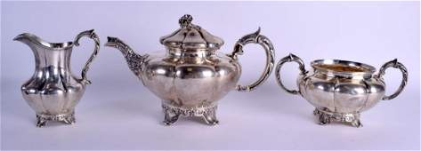 A VICTORIAN THREE PIECE SILVER TEASET London 1841