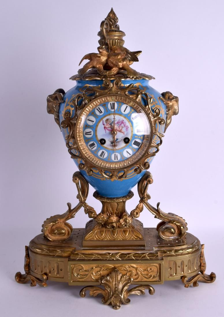 A LARGE 19TH CENTURY FRENCH SEVRES PORCELAIN AND BRONZE