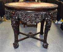 A FINE LARGE 19TH CENTURY CHINESE CARVED HONGMU MARBLE