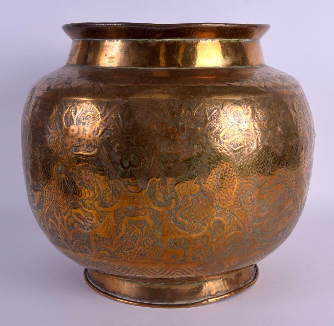 A LARGE 19TH CENTURY CHINESE BULBOUS ENGRAVED BRASS