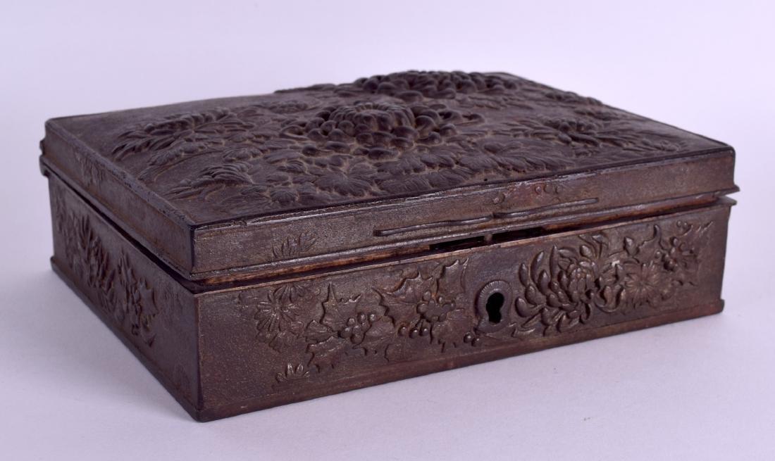 A RARE 19TH CENTURY JAPANESE MEIJI PERIOD IRON CASKET