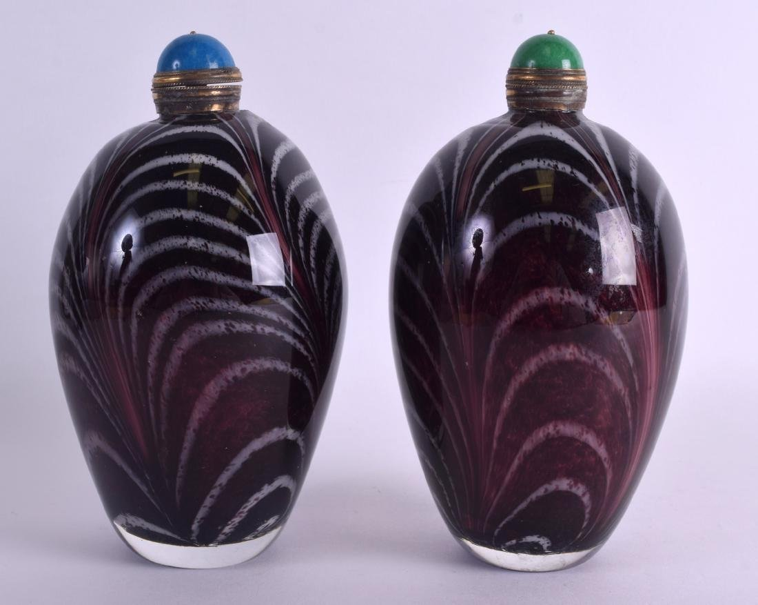 A LARGE PAIR OF CHINESE ART GLASS SCENT BOTTLE AND - 2