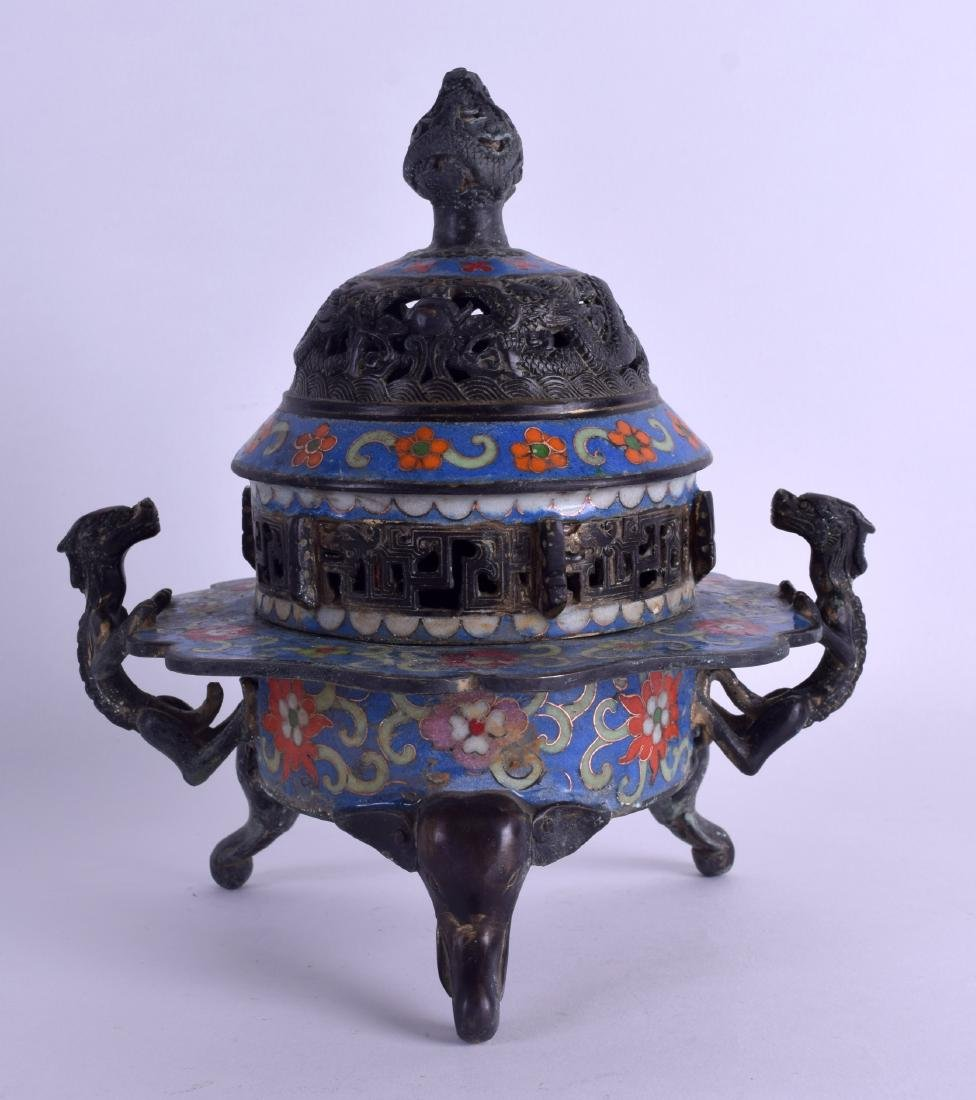 A CHINESE BRONZE AND CLOISONNÉ ENAMEL CENSER AND COVER