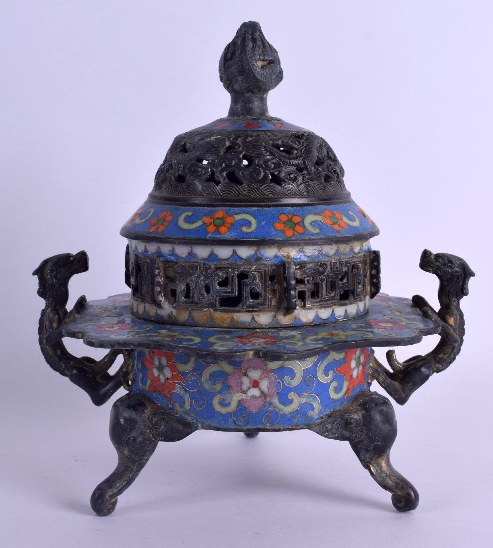 A CHINESE BRONZE AND CLOISONNÉ ENAMEL CENSER AND COVER - 2