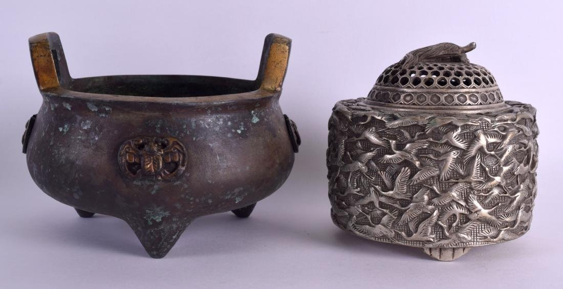 A CHINESE TWIN HANDLED BRONZE CENSER together with a