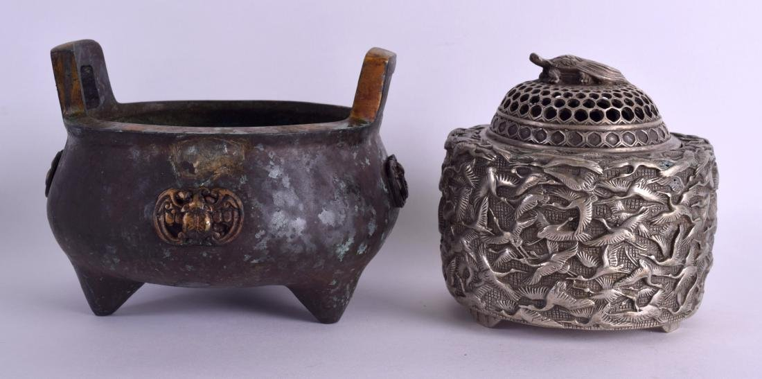 A CHINESE TWIN HANDLED BRONZE CENSER together with a - 2