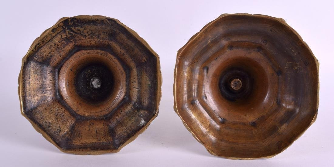 A PAIR OF 18TH/19TH CENTURY BRASS CANDLESTICKS with - 3