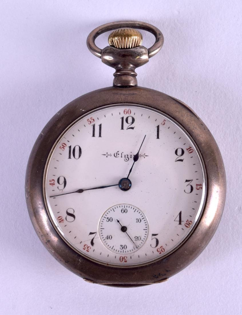 AN ELGIN SILVER POCKET WATCH with white enamel dial and