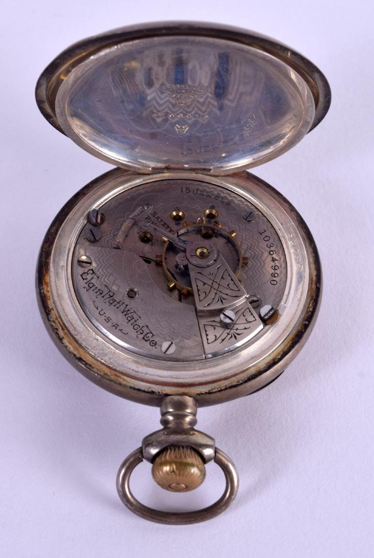 AN ELGIN SILVER POCKET WATCH with white enamel dial and - 4