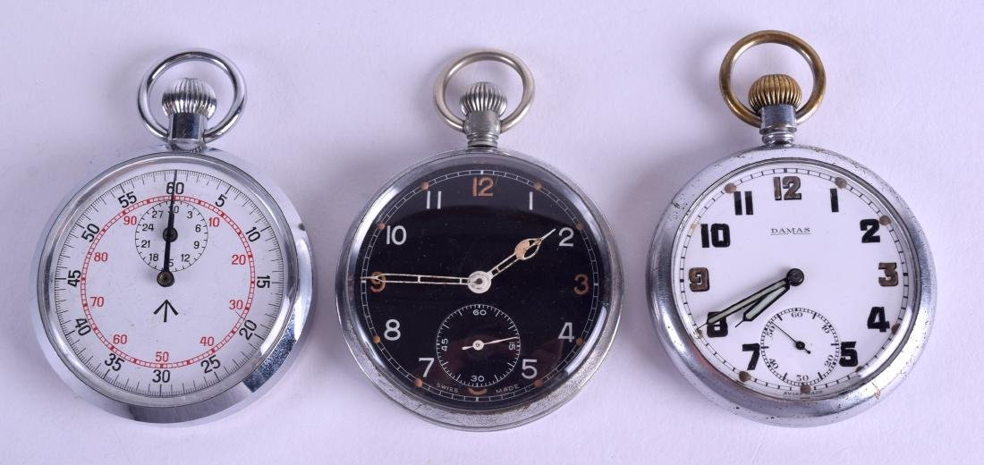THREE MILITARY POCKET WATCHES. Largest 4.75 cm