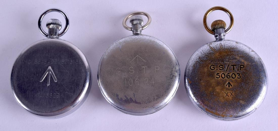 THREE MILITARY POCKET WATCHES. Largest 4.75 cm - 2