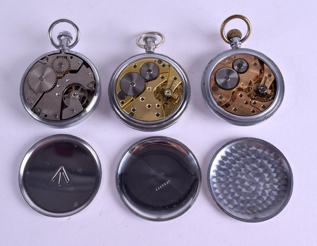 THREE MILITARY POCKET WATCHES. Largest 4.75 cm - 3