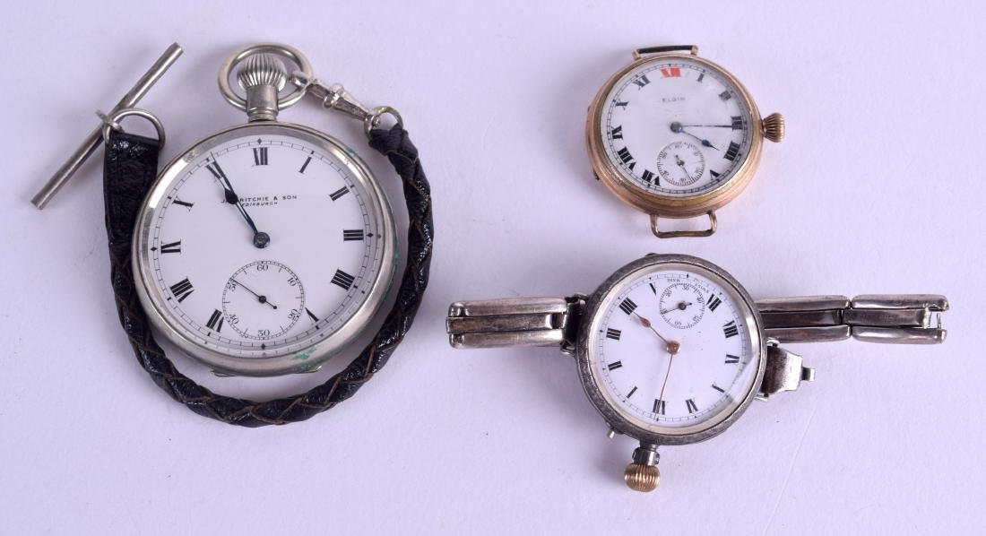AN ANTIQUE ENGRAVED SILVER FOB WATCH together with two
