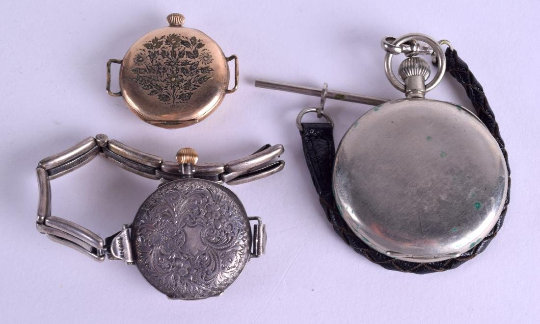 AN ANTIQUE ENGRAVED SILVER FOB WATCH together with two - 2