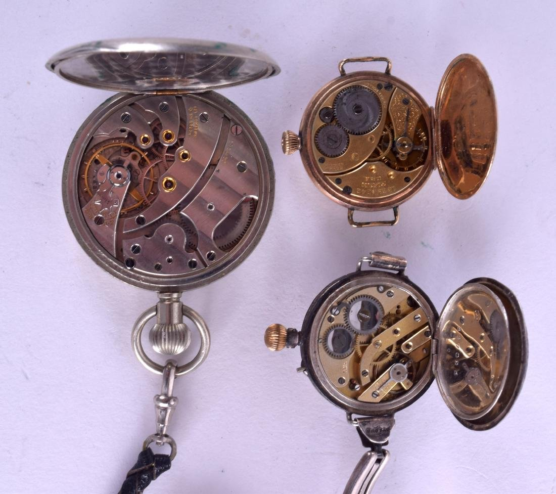 AN ANTIQUE ENGRAVED SILVER FOB WATCH together with two - 3