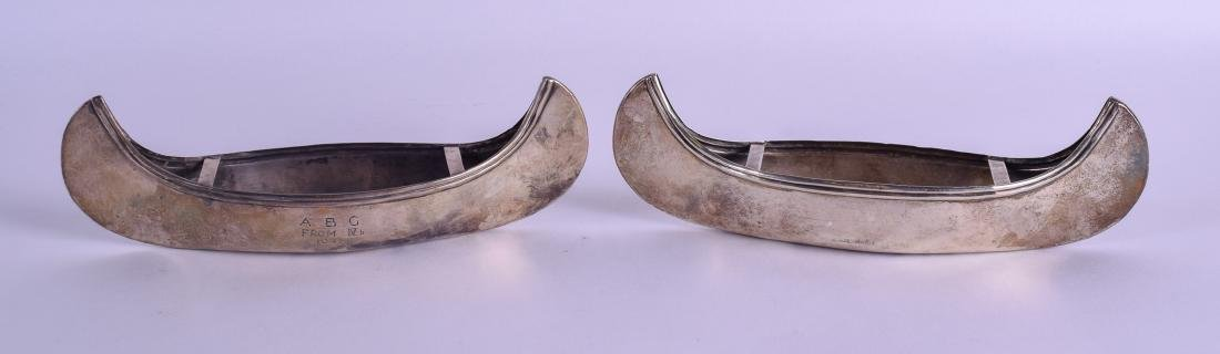 A VERY RARE PAIR OF ENGLISH SILVER CANOES. Chester