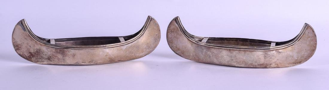 A VERY RARE PAIR OF ENGLISH SILVER CANOES. Chester - 2