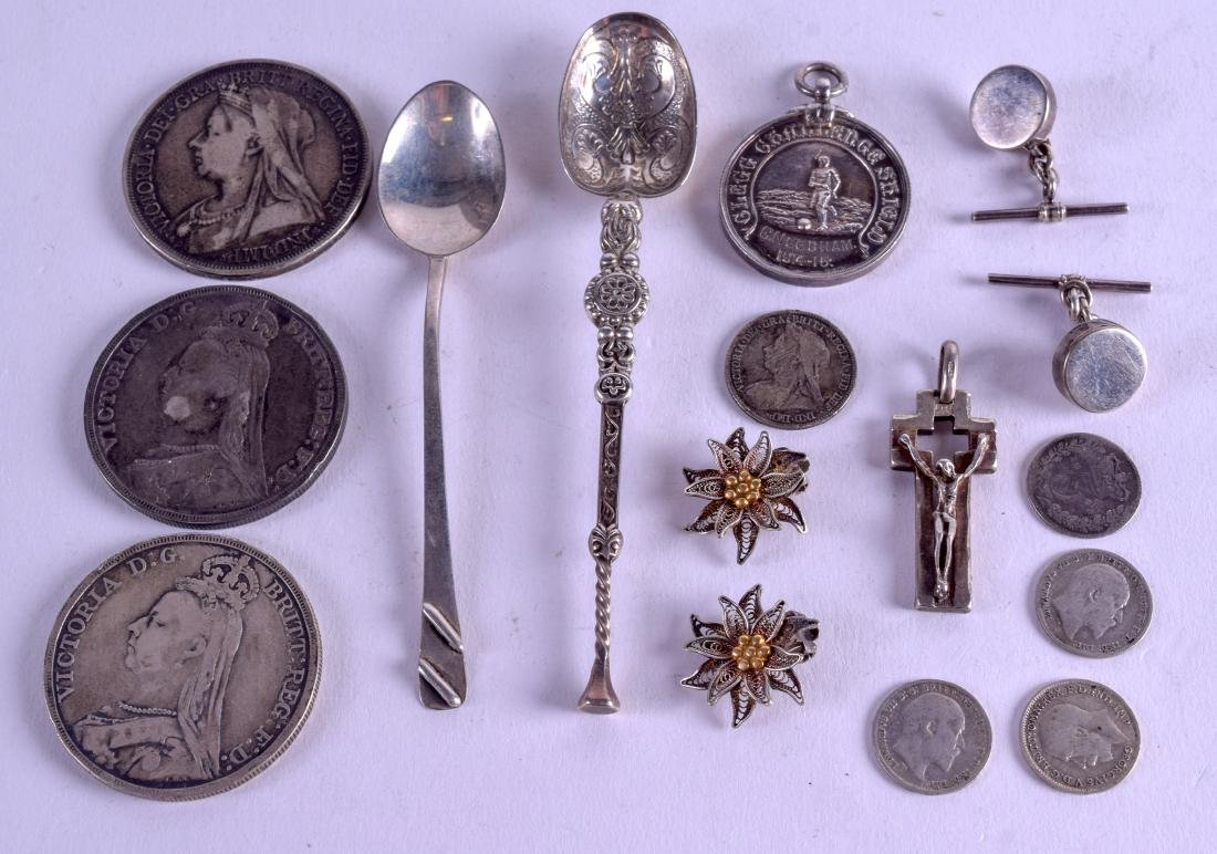 A GROUP OF SILVER COINS together with arts and crafts