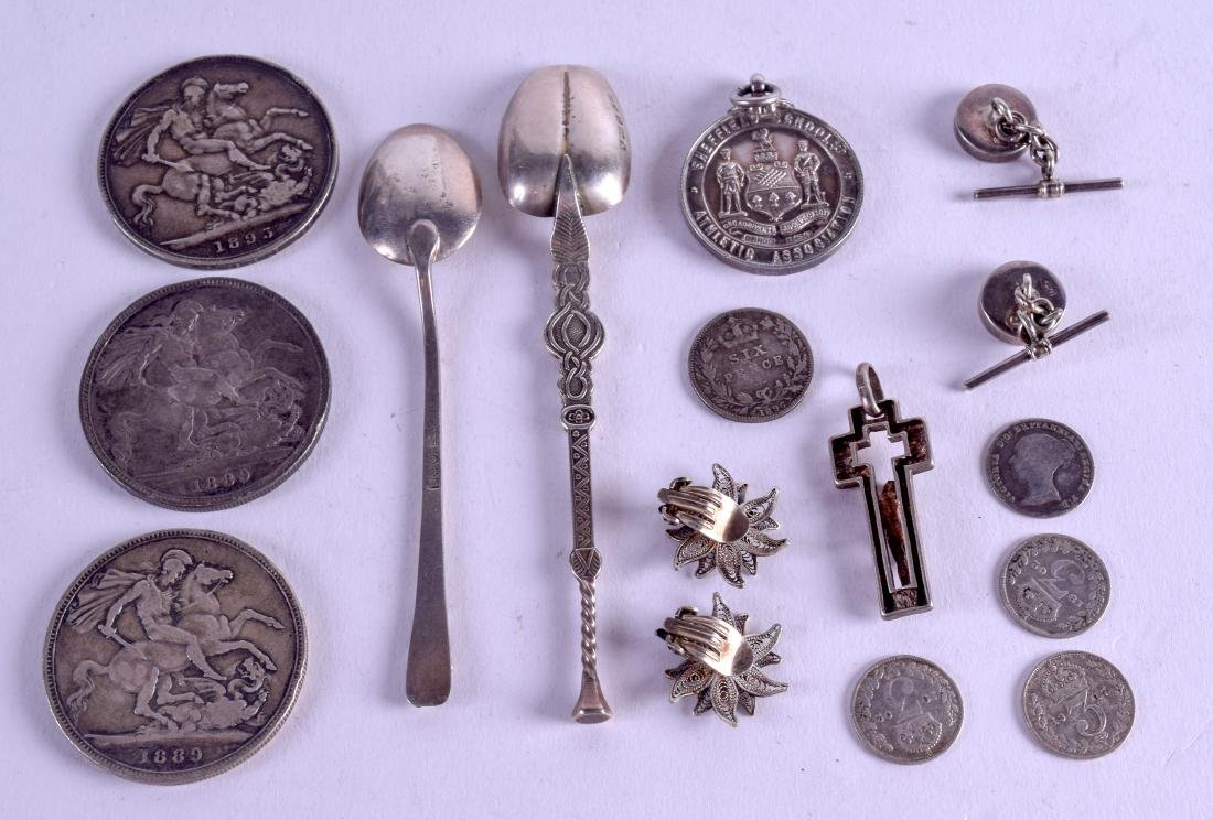 A GROUP OF SILVER COINS together with arts and crafts - 2