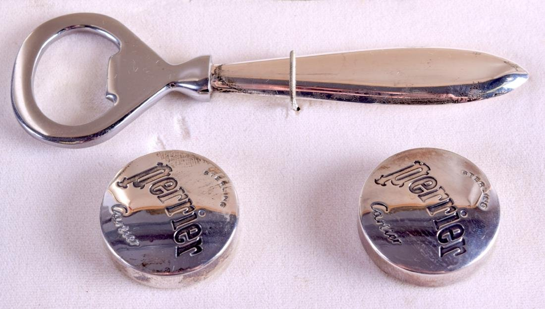 A CASED SET OF CARTIER PERRIER SILVER BOTTLE OPENER - 2