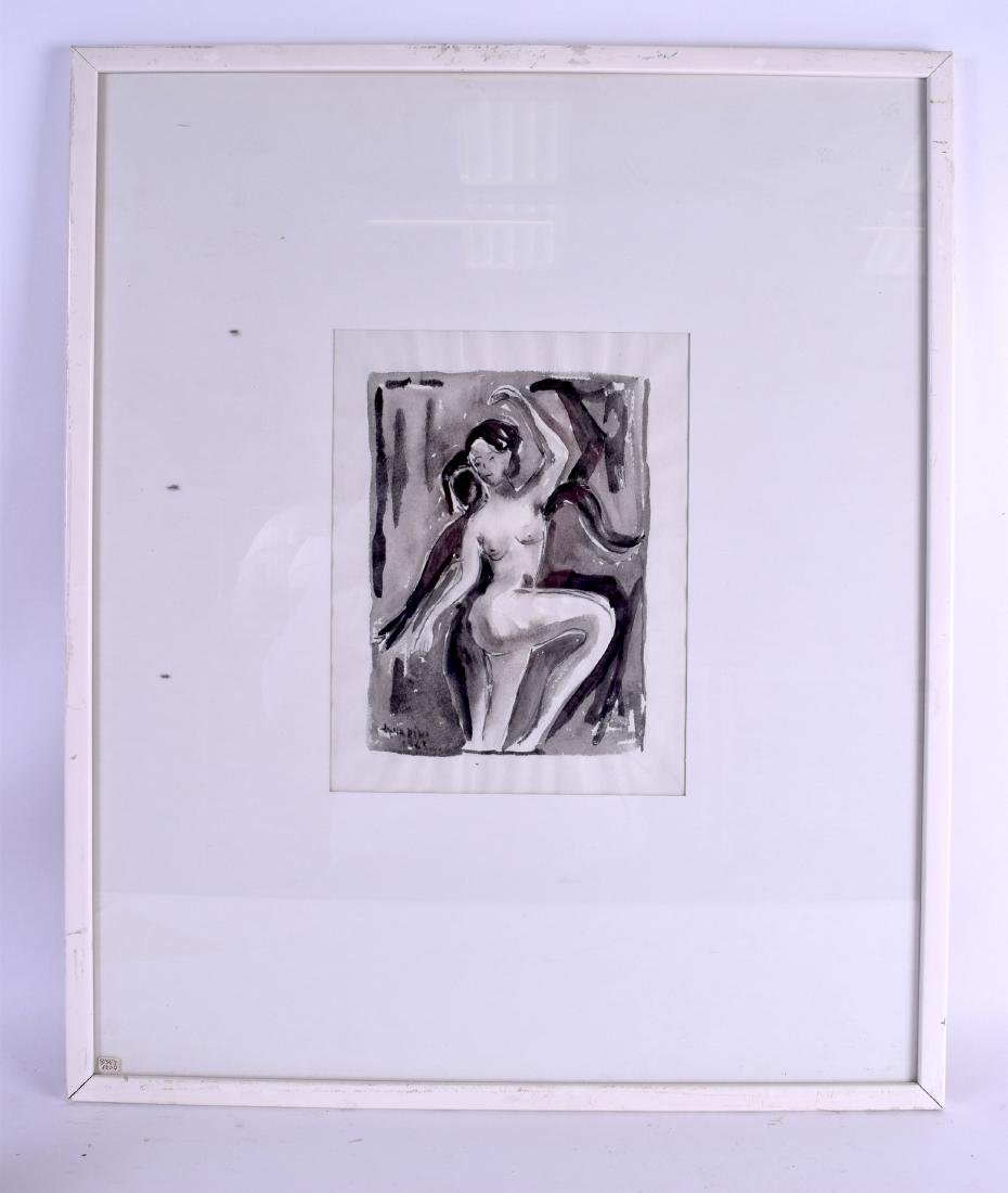 EUROPEAN SCHOOL (20th century), framed monochrome wash,