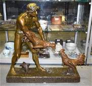 A LARGE ART DECO FRENCH BRONZE FIGURAL GROUP by Henri