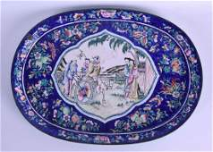 A LARGE 19TH CENTURY CHINESE CANTON ENAMEL OVAL DISH
