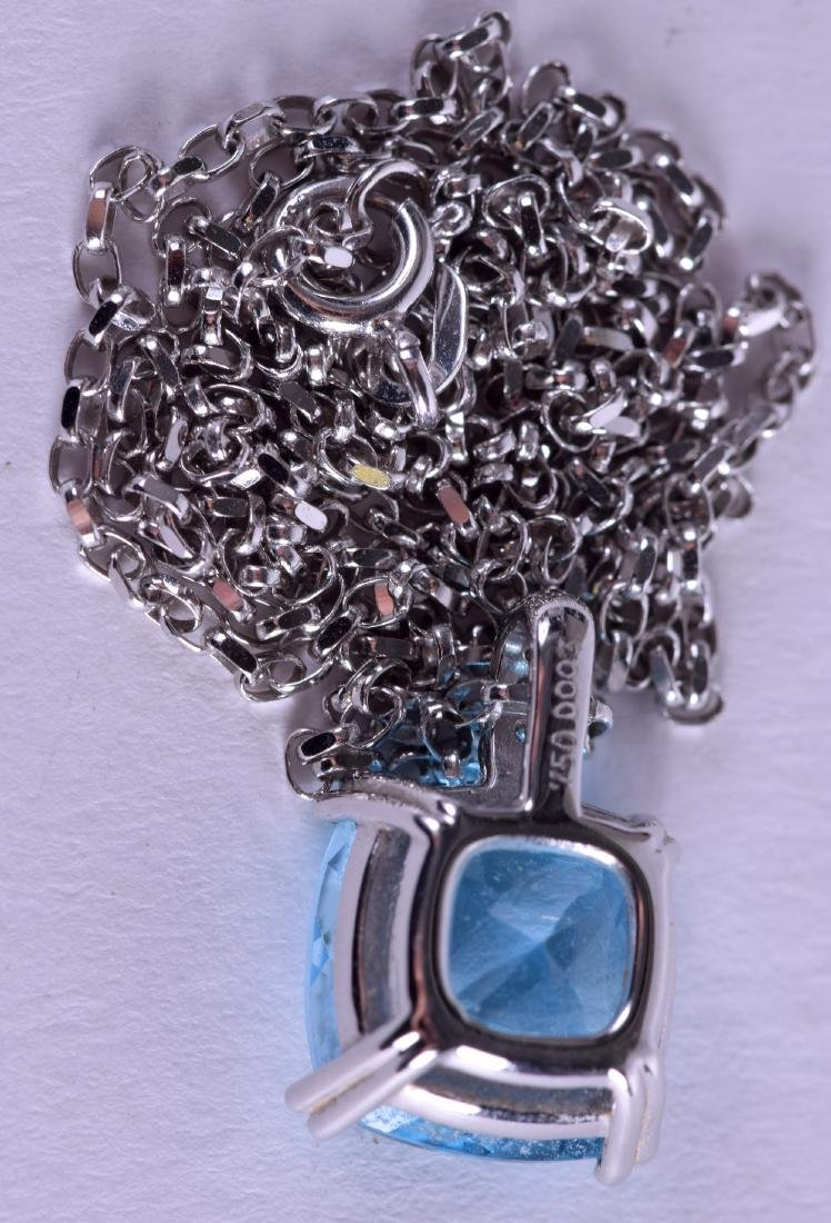 AN 18CT WHITE GOLD AND BLUE TOPAZ DIAMOND NECKLACE. - 2