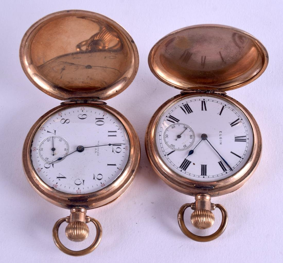 TWO GOLD PLATED POCKET WATCHES. 5 cm diameter. (2)