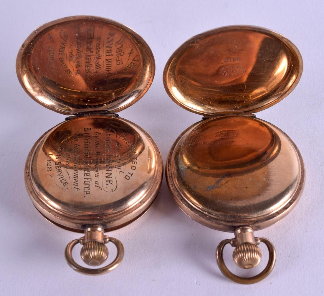 TWO GOLD PLATED POCKET WATCHES. 5 cm diameter. (2) - 2