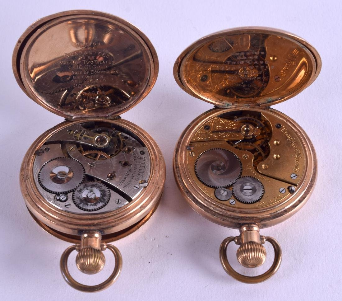 TWO GOLD PLATED POCKET WATCHES. 5 cm diameter. (2) - 3