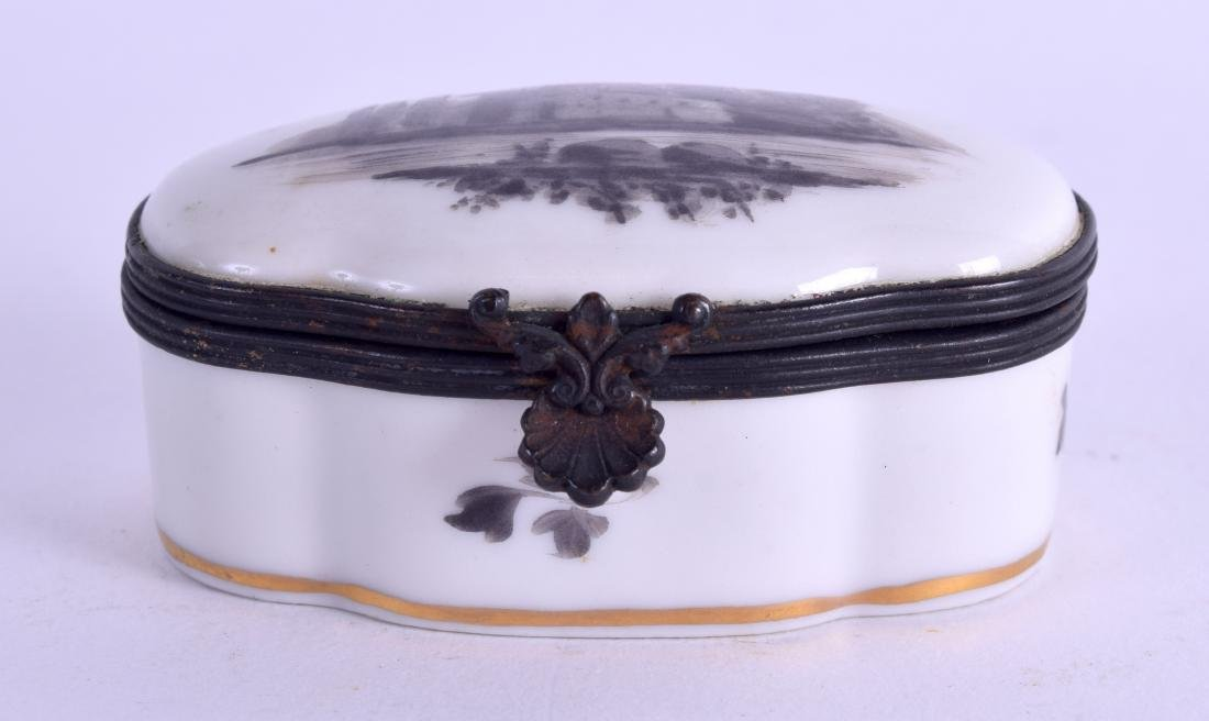 A SEVRES STYLE PORCELAIN PILL BOX painted with
