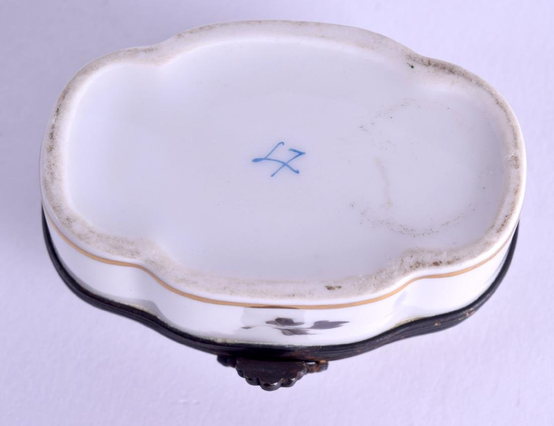 A SEVRES STYLE PORCELAIN PILL BOX painted with - 5