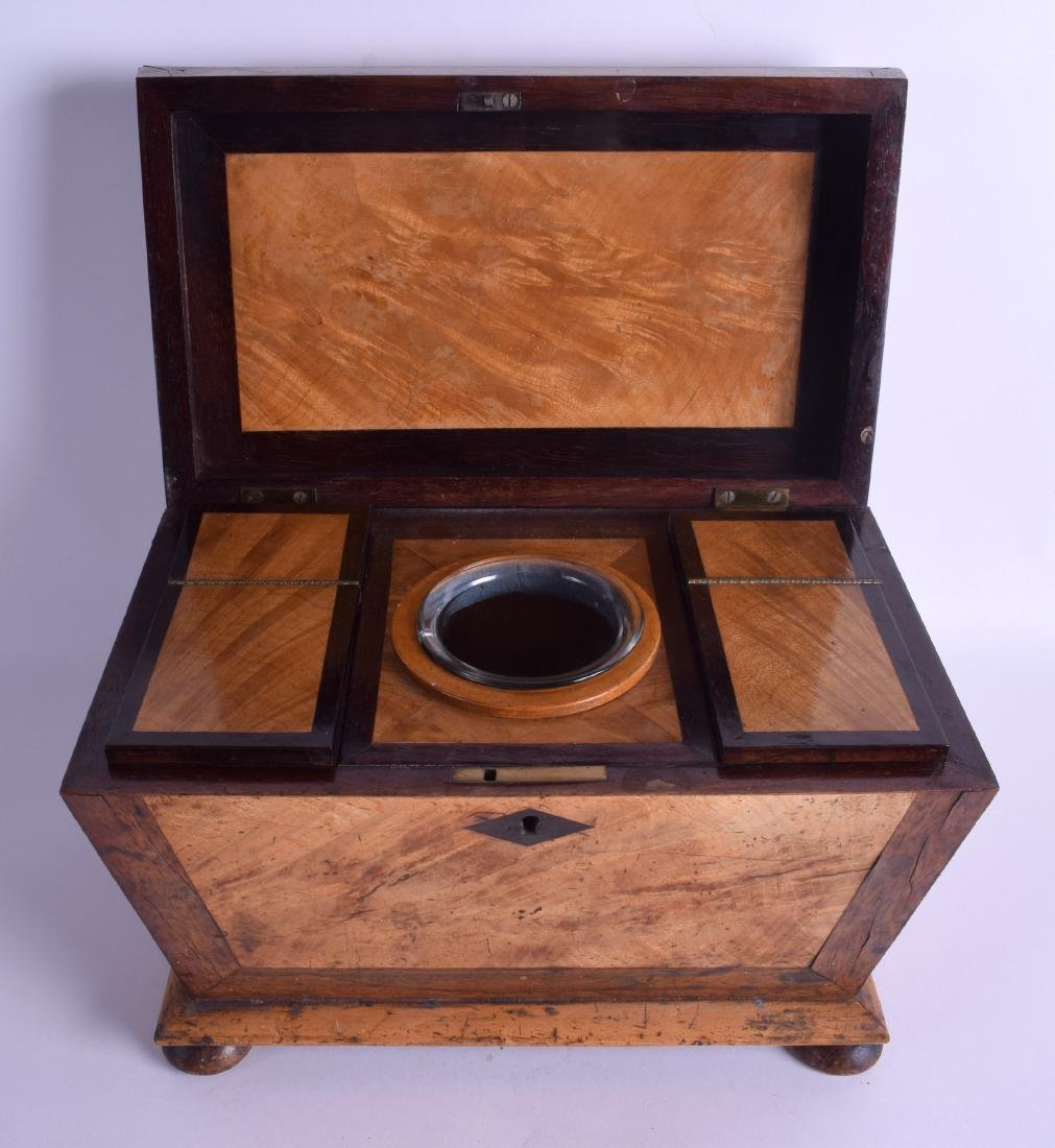 A VICTORIAN CARVED WALNUT TWIN DIVISION TEA CADDY with - 3