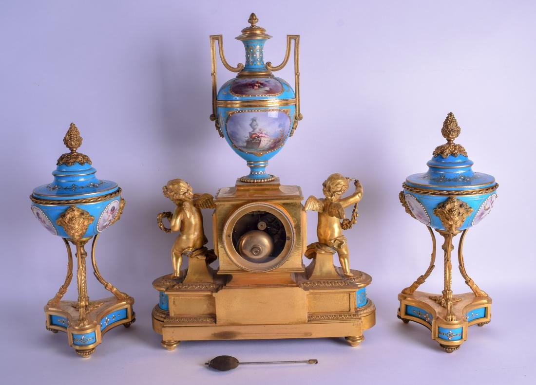 A FINE MID 19TH CENTURY FRENCH SEVRES PORCELAIN AND - 2