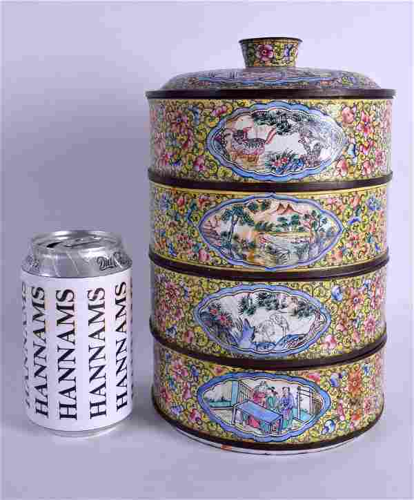 A RARE CHINESE QING DYNASTY CANTON ENAMEL STACKING BOX