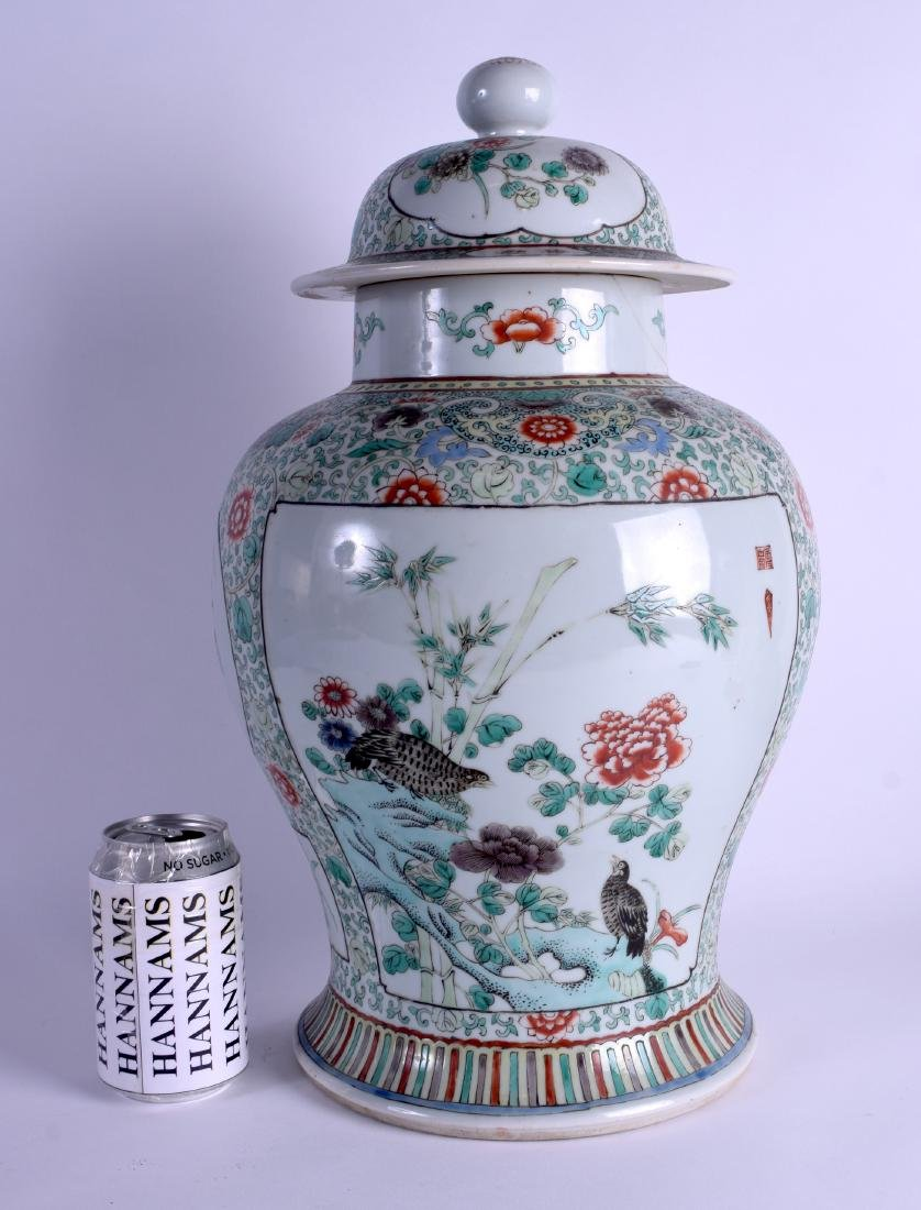 A LARGE 19TH CENTURY CHINESE FAMILLE VERTE BALUSTER