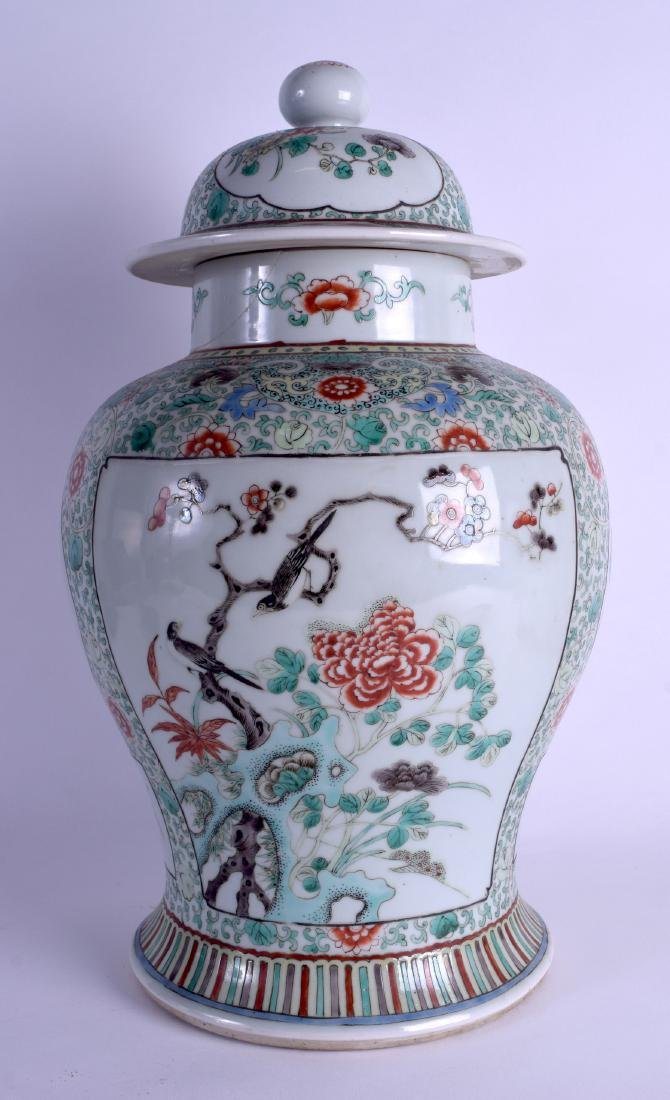 A LARGE 19TH CENTURY CHINESE FAMILLE VERTE BALUSTER - 2