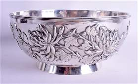 A LARGE 19TH CENTURY CHINESE EXPORT SILVER BOWL By Wang