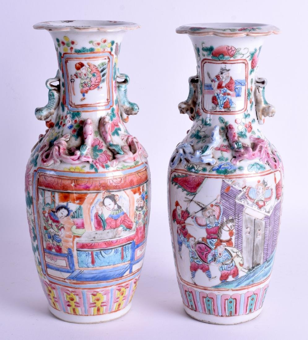 A PAIR OF 19TH CENTURY CHINESE CANTON FAMILLE ROSE - 2