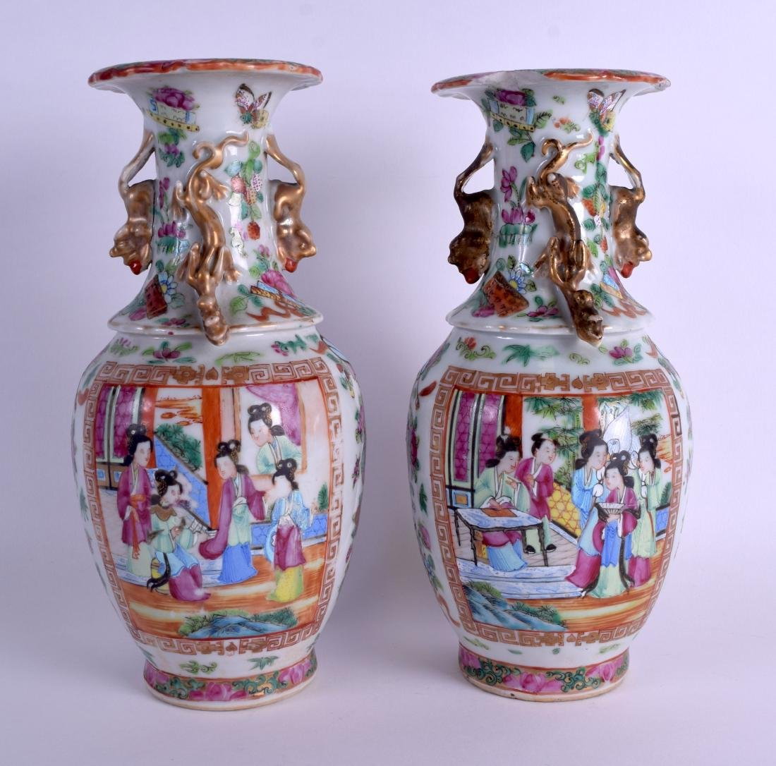 A PAIR OF 19TH CENTURY CHINESE FAMILLE ROSE VASES Qing,