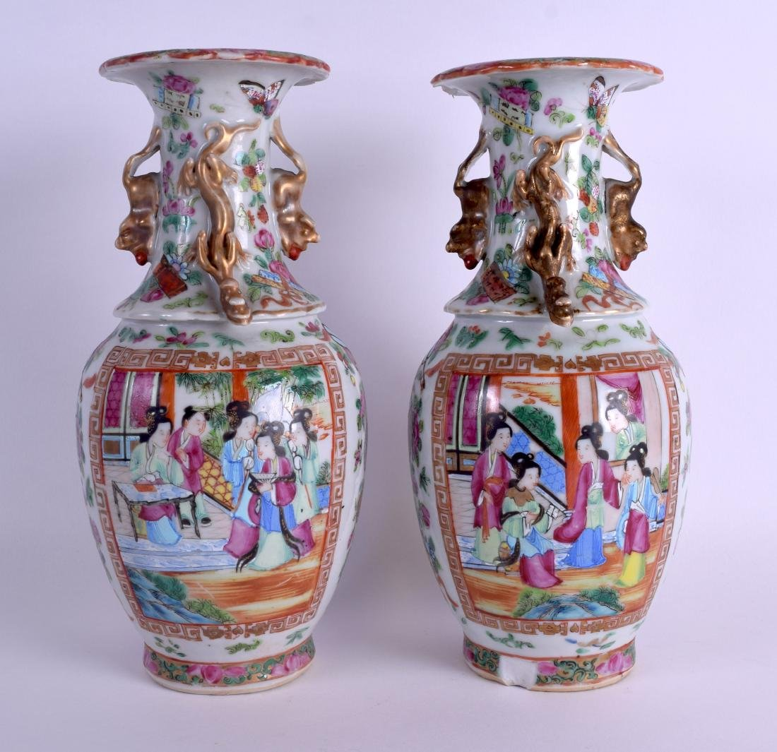 A PAIR OF 19TH CENTURY CHINESE FAMILLE ROSE VASES Qing, - 2