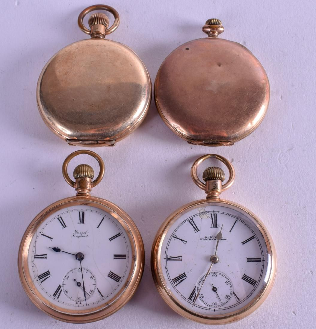 FOUR GOLD PLATED POCKET WATCHES. Largest 5 cm wide. (4)