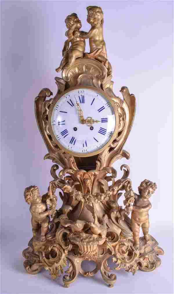 A LARGE 19TH CENTURY FRENCH GILT BRONZE MANTEL CLOCK