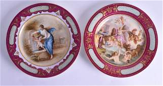 A PAIR OF EARLY 20TH CENTURY VIENNA PORCELAIN CABINET