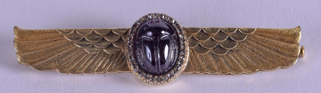 A FINE 14CT GOLD EGYPTIAN REVIVAL AMETHYST AND DIAMOND